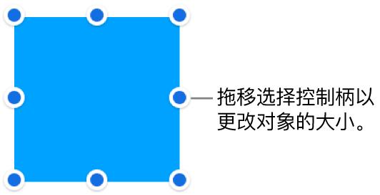 边框上具有用于更改对象大小的蓝色圆点的对象。