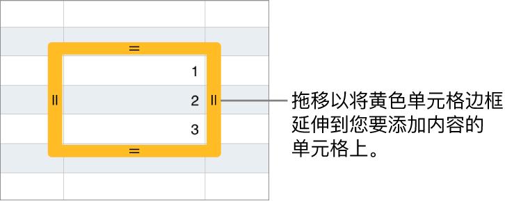 带有黄色大边框的选定单元格,拖移边框可以自动填充单元格。