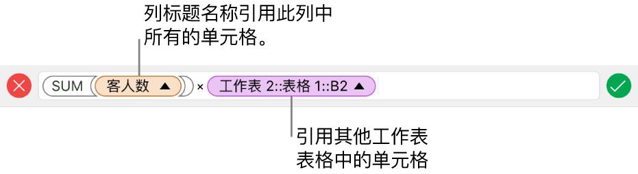公式编辑器,显示公式引用了一个表格中的列和另一个表格中的单元格。
