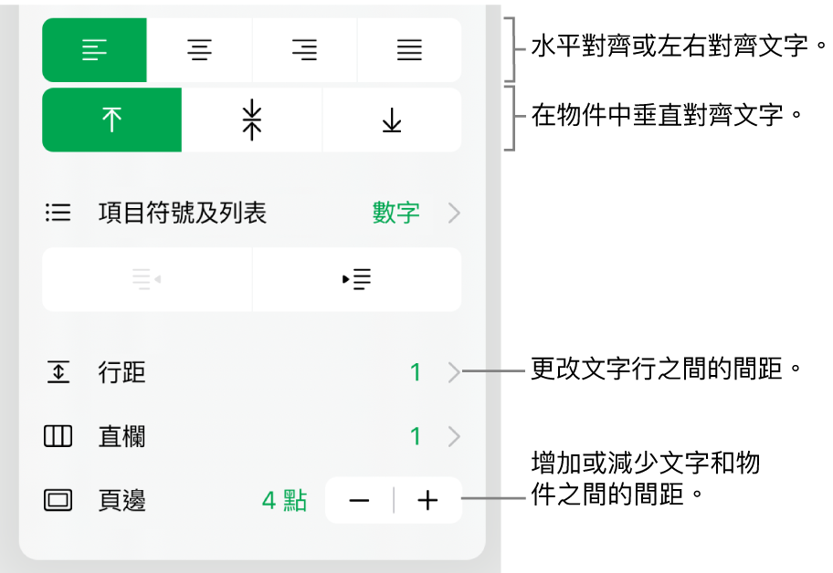 「格式」檢閲器的「佈局」部份,説明文字指向文字對齊方式和間距按鈕。