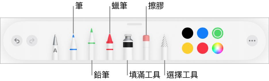繪圖工具列包含筆、鉛筆、蠟筆、填滿工具、擦膠、選擇工具以及顏色。最右方是「更多」選單按鈕