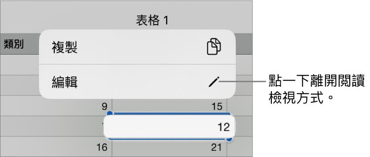 已選擇表格輸入格,其上方是包含「複製」和「編輯」按鈕的選單。