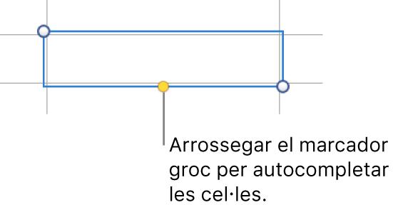 Una cel·la seleccionada amb un marcador groc que pots arrossegar per autocompletar cel·les.