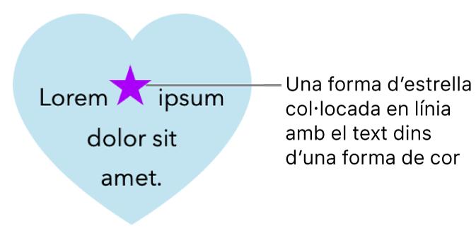 Una forma d'estrella integrada al text a l'interior d'una forma de cor.