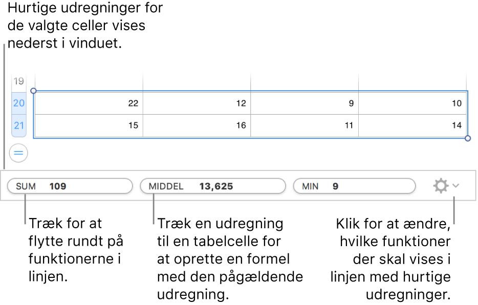 Træk for at flytte rundt på funktioner, træk en beregning til en tabelcelle for at tilføje den, eller klik på menuen til skift af funktion for at ændre, hvilke funktioner der skal vises.