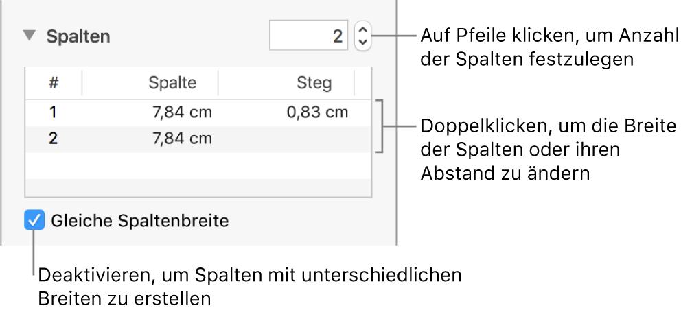"""Steuerelemente im Abschnitt """"Spalten"""" zum Ändern der Spaltenanzahl und der Breite der einzelnen Spalten."""