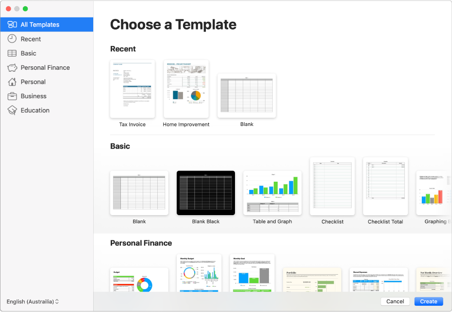 The template chooser. A sidebar on the left lists template categories you can click to filter options. On the right are thumbnails of predesigned templates arranged in rows by category, starting with Recent at the top and followed by Basic and Personal Finance. The Language and Region pop-up menu is in the bottom-left corner and Cancel and Create buttons are in the bottom-right corner.