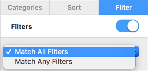The pop-up menu to choose between showing rows that match all filters or any filter.