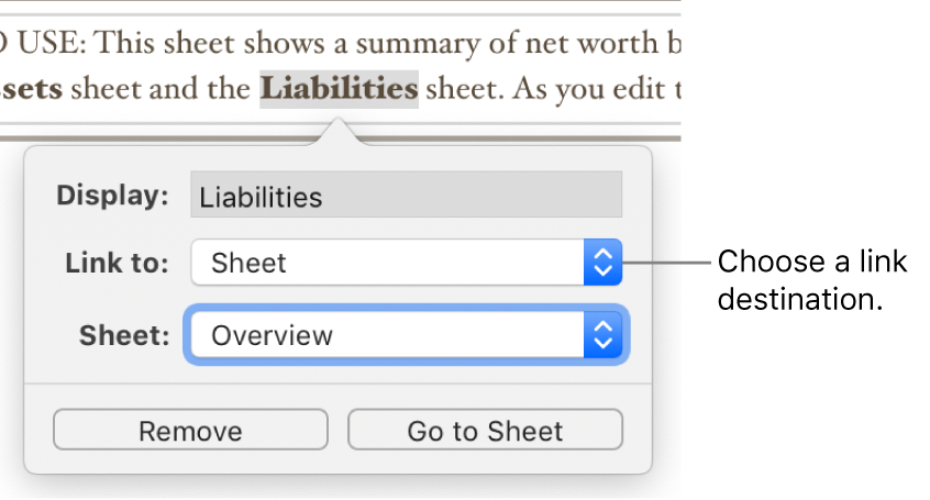 The link editor with a Display field, Link to pop-up menu (Sheet is selected), and Sheet pop-up menu (a sheet named Overview is selected). The Remove and Go to Sheet buttons are at the bottom of the pop-over.