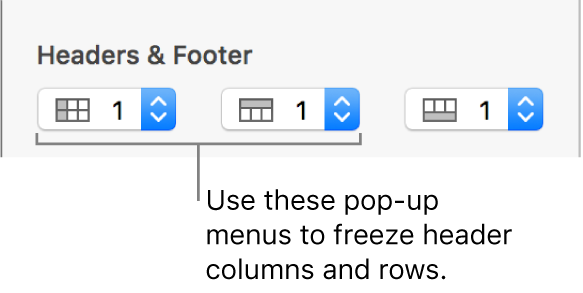 The pop-up menus for adding header and footer columns and rows to a table and for freezing header rows and columns.