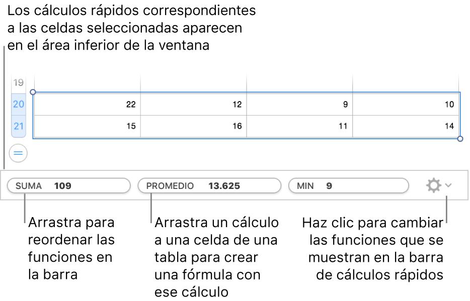 Arrastra para reordenar las funciones, arrastra un cálculo a la celda de una tabla para agregarlo o haz clic en el menú para cambiar las funciones que se muestran.