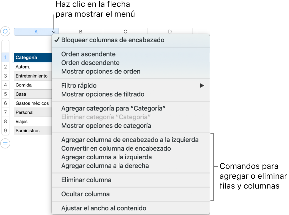 El menú de columna de tabla con comandos para agregar o eliminar filas y columnas.