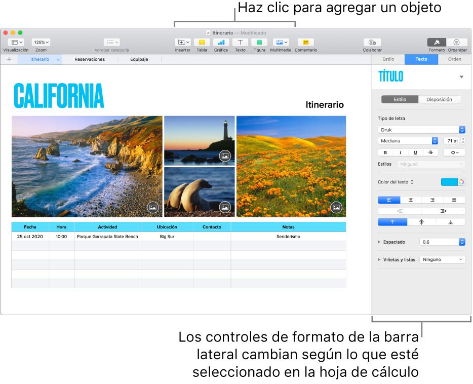 La ventana de Numbers con la pestaña Texto de la barra lateral Formato abierta.