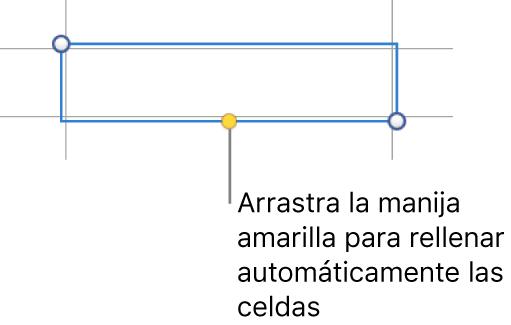 Una celda seleccionada con una manija amarilla que puedes arrastrar para autorrellenar celdas.