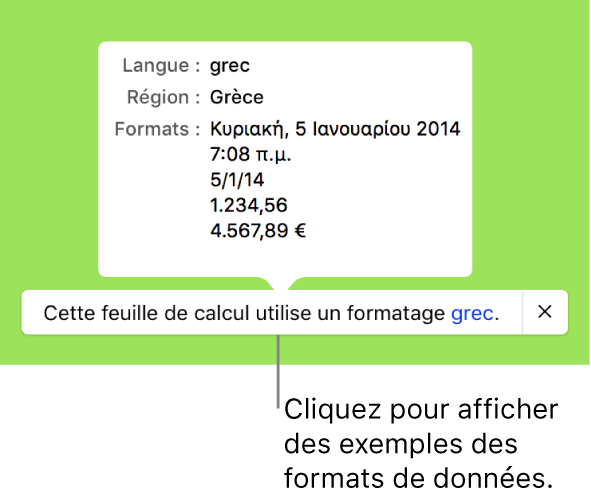 La notification du réglage de langue et de région différent affichant des exemples de la mise en forme correspondant à cette langue et à cette région.