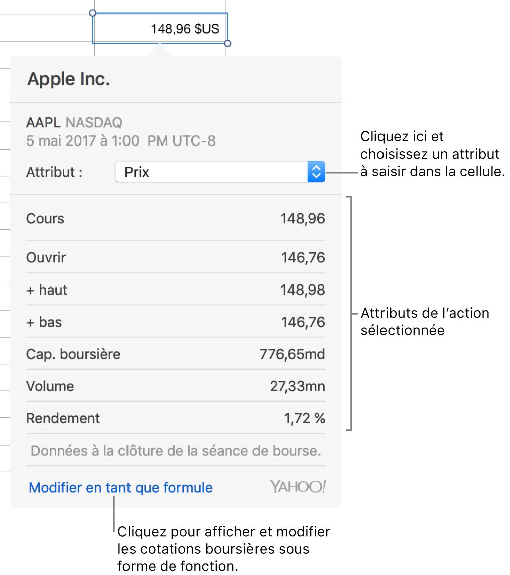 Zone de dialogue dans laquelle saisir des informations sur l'attribut de l'action, Apple étant l'action sélectionnée.