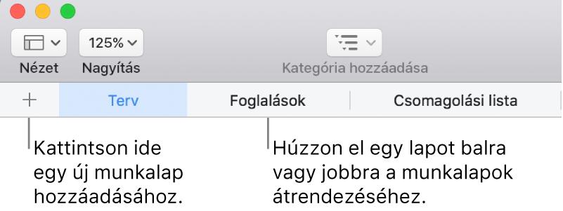 Lapsáv új munkalap hozzáadásához és munkalapok átrendezéséhez.