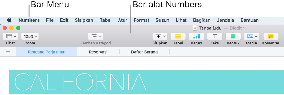 Bar menu di bagian atas layar dengan menu Apple, Numbers, File, Edit, Sisipkan, Format, Susun, Lihat, Bagikan, Jendela, dan Bantuan. Di bawah bar menu adalah spreadsheet Numbers yang terbuka dengan tombol bar alat di sepanjang bagian atas untuk Lihat, Zoom, Tambah Kategori, Sisipkan, Tabel, Bagan, Teks, Bentuk, Media, dan Komentar.