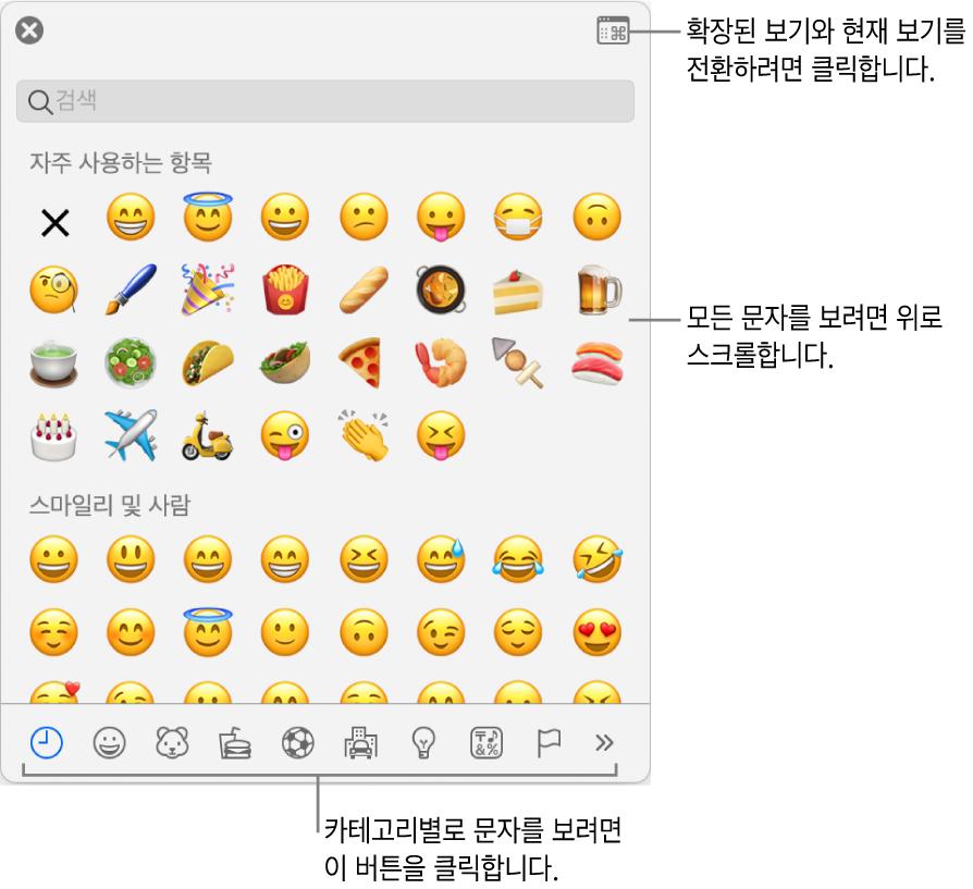 이모티콘, 하단에 있는 다양한 유형의 기호에 대한 버튼 및 전체 문자 윈도우를 표시하는 버튼에 대한 설명을 표시하는 특수 문자 팝업.