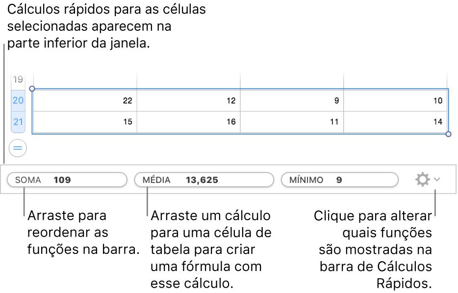 Arraste para reorganizar funções, arraste um cálculo para uma célula de tabela para adicioná-lo ou clique no menu de alteração de funções para alterar quais funções são mostradas.