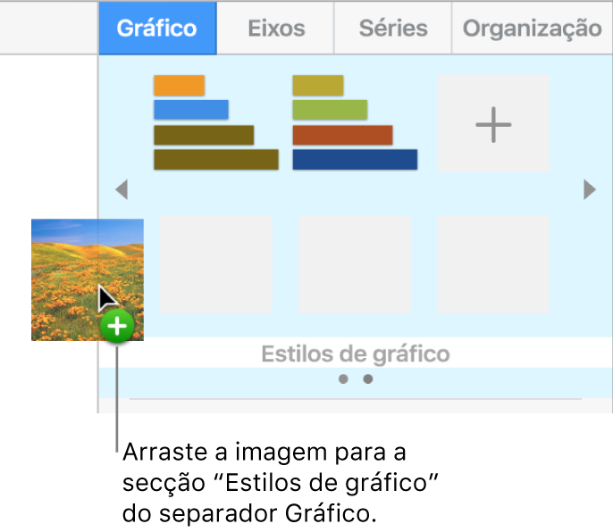 Arrastar uma imagem para a secção de estilos de gráfico da barra lateral para criar um novo estilo.