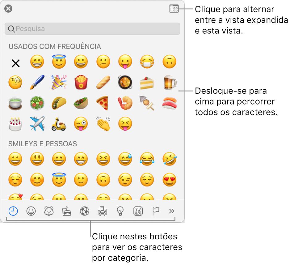 """O pop-up """"Caracteres especiais"""" com ícones expressivos, botões para diferentes tipos de símbolos na parte inferior e um destaque para um botão para mostrar a janela Caracteres completa."""