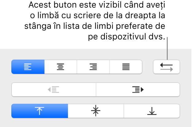 Butonul Direcție paragraf din secțiunea Aliniere a barei laterale Format.