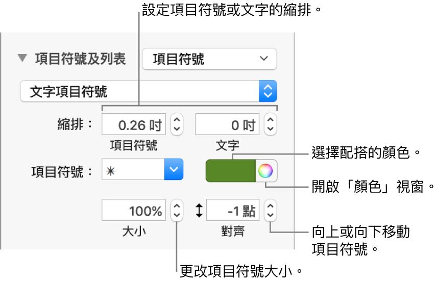 含有説明文字的「項目符號及列表」區域,包括項目符號與文字縮排、項目符號顏色、項目符號大小和對齊方式的控制項目。