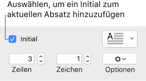 """Das Feld """"Initial"""" ist markiert und rechts davon wird ein Einblendmenü angezeigt; Steuerelemente zur Einstellung der Zeilenhöhe, der Anzahl der Zeichen und weitere Optionen erscheinen darunter."""