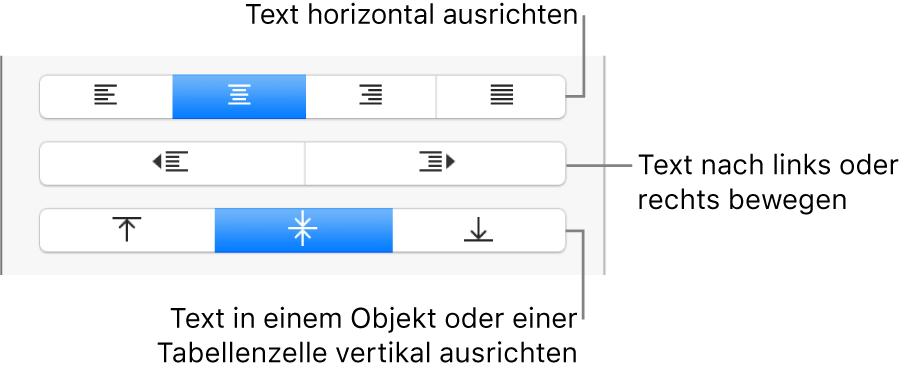 """Der Abschnitt """"Ausrichtung"""" der Seitenleiste mit Tasten zur horizontalen Ausrichtung von Text, zum Bewegen von Text nach links oder rechts und zur vertikalen Ausrichtung von Text"""