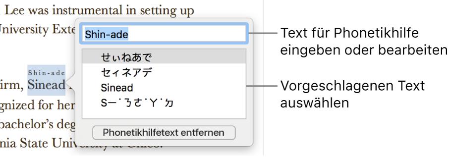 Die geöffnete Phonetikhilfe für ein Wort mit Beschreibungen für das Textfeld und einen Textvorschlag