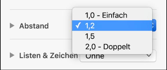 """Das Einblendmenü """"Abstand"""" mit den Optionen """"Einfach"""", """"Doppelt"""" und weiteren Optionen"""