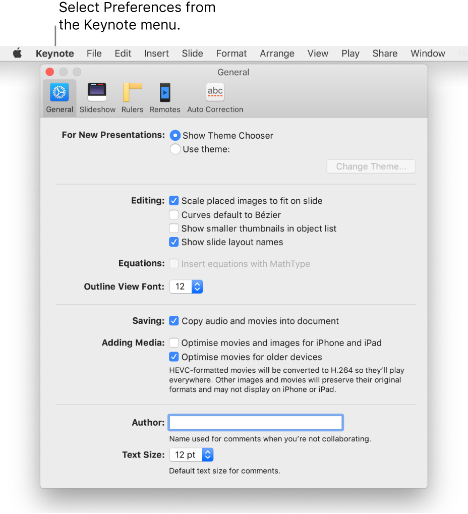 The Keynote preferences window open to the General pane.
