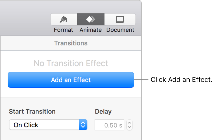 Add an Effect button in the Animate section of the sidebar.