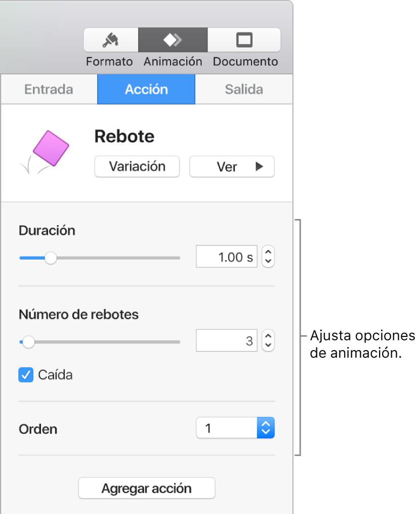 Controles de Acción en la sección Animación de la barra lateral.
