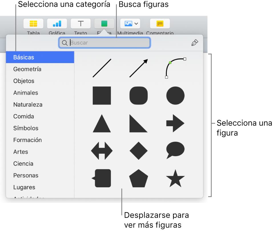 La biblioteca de figuras, con las categorías enumeradas a la izquierda y las figuras mostradas a la derecha. Puedes usar el campo de búsqueda de la parte superior para buscar figuras o desplazarte para ver más.