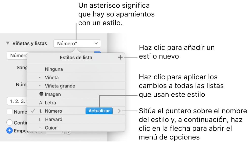 """El menú desplegable """"Estilos de lista"""" con un asterisco que indica una modificación y llamadas al botón """"Nuevo estilo"""", así como un submenú de opciones para gestionar estilos."""