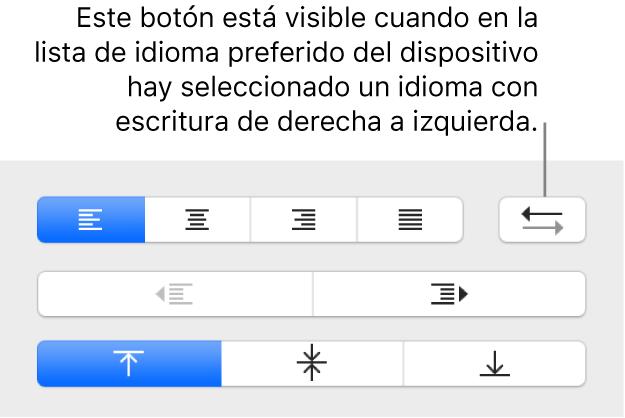"""Botón """"Dirección del párrafo"""" en los controles de alineación de texto."""