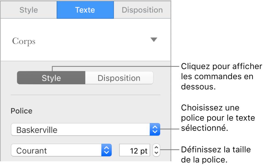 Commandes de texte de la section Style, dans la barre latérale de configuration de la police et de la taille des caractères.
