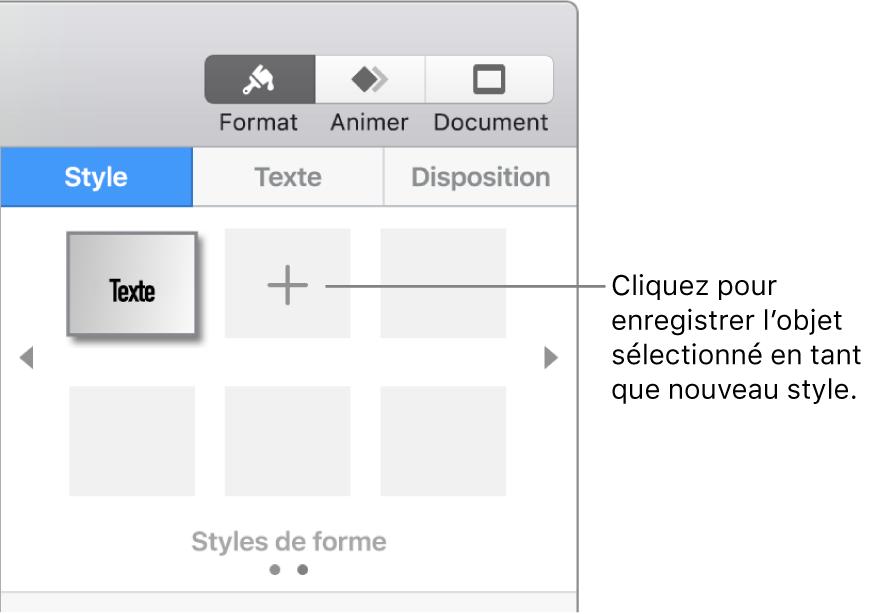 L'onglet Style de la barre latérale Format avec un bouton Créer un style en regard d'un style de zone de texte et quatre styles de paramètre fictif vides.