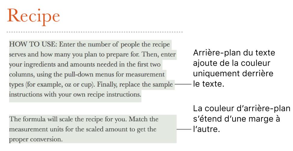 Un paragraphe avec de la couleur uniquement derrière le texte, et un autre avec un arrière-plan coloré allant d'une marge à l'autre pour créer un bloc.