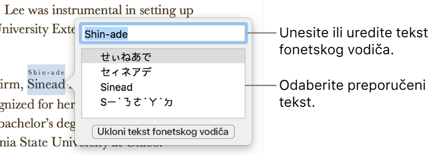 Fonetski vodič otvoren za riječ, s balončićima za polje teksta i predloženi tekst.