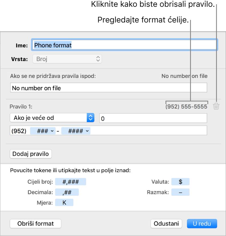 Vlastiti format brojčanih ćelija s pravilima.