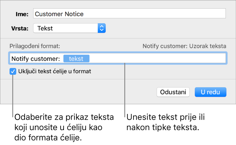 Vlastiti format tekstualnih ćelija.