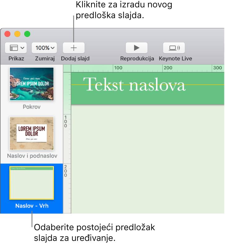 Predložak slajdova pojavljuje se na platnu slajda, a iznad njega se u alatnoj traci nalazi Dodaj slajd.