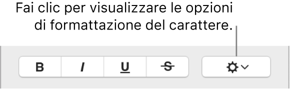 """Riquadro """"Opzioni avanzate"""" accanto ai pulsanti Grassetto, Corsivo e Sottolineato."""