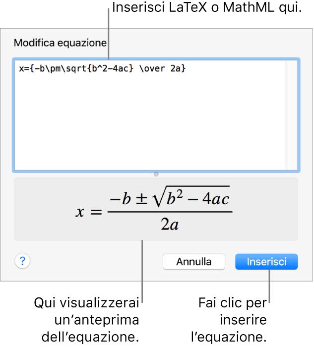 """La finestra di dialogo """"Modifica equazione"""" che mostra la formula quadratica scritta tramite LaTeX nel campo """"Modifica equazione"""" e un'anteprima della formula sotto."""