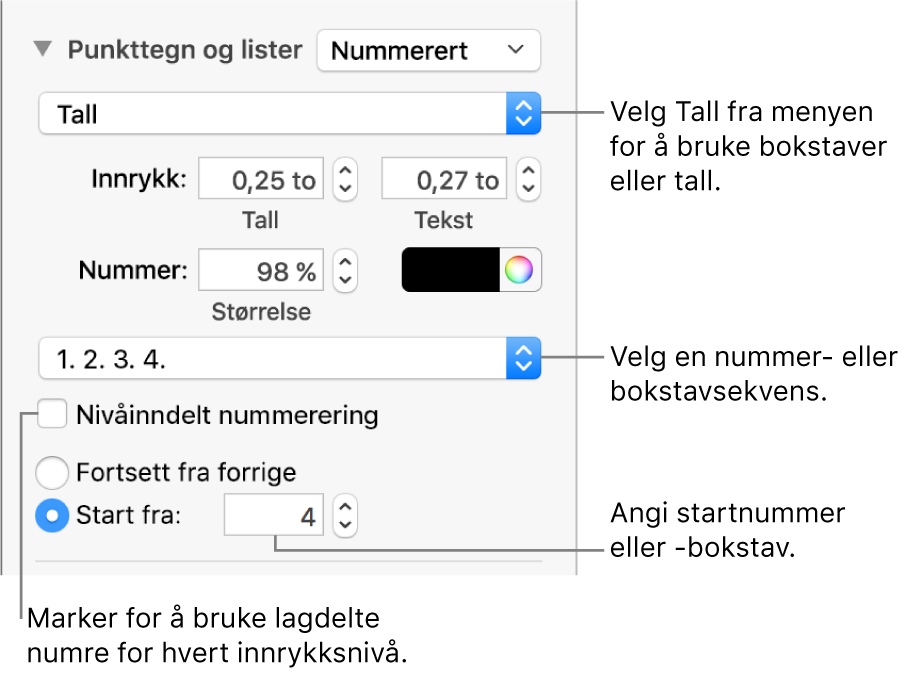 Formater lister i Keynote på Mac Apple kundestøtte