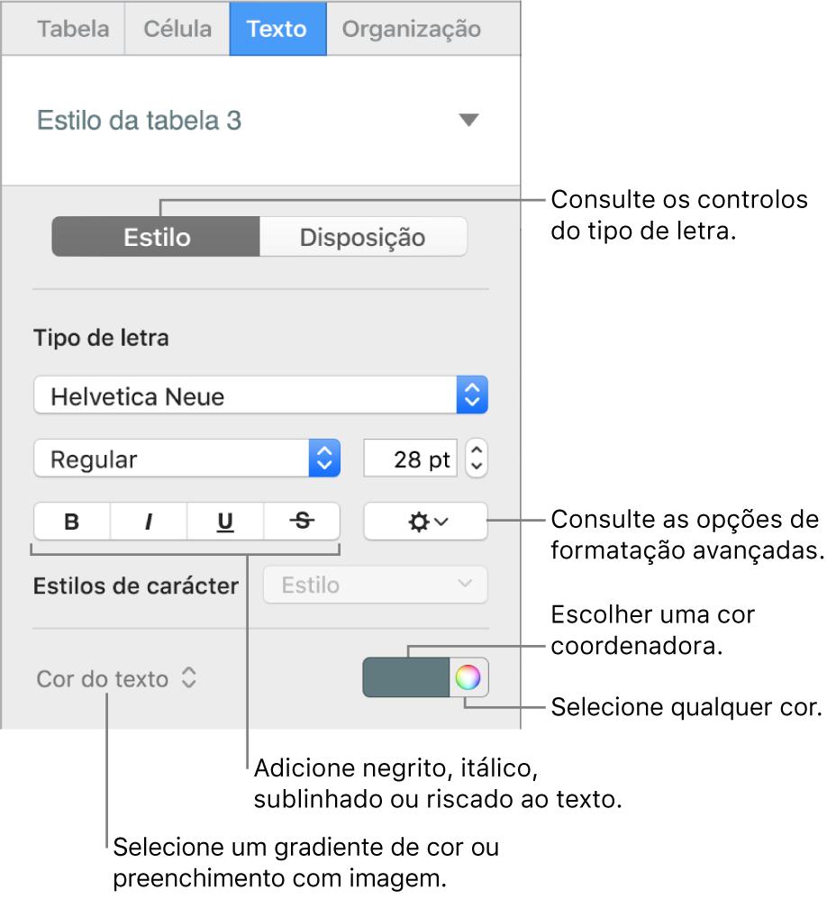 Os controlos para o estilo do texto de uma tabela.