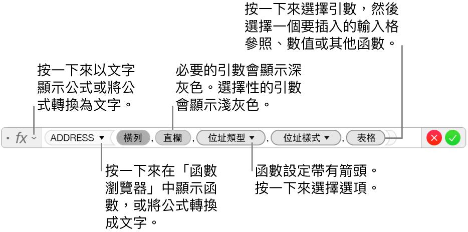 顯示 ADDRESS 函數與其引數代號的公式編輯器。